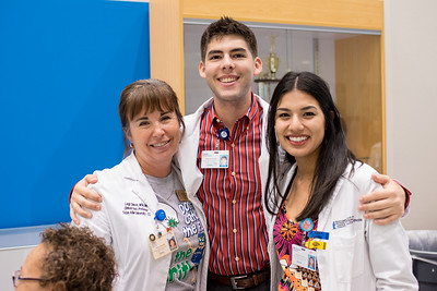 Professor Leigh Shaver (left), Caleb Schauweker, and Monique Romero