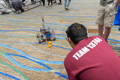 The Enginerds test out their robot before competition.