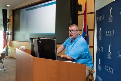 Michael Van Den Eijnden speaks at the Microcontrollers Workshop at the Harte Research Institute.