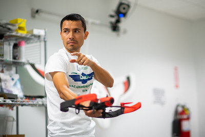 Dr. Luis Garcia demonstrates to the 2019 UAS Summer Program students how XY coordinates are calculated without GPS dependibility.