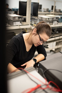 Student engineer major Lorryn Berry solves lecture questions at the Texas A&M University of Corpus Christi Engineering Labs.