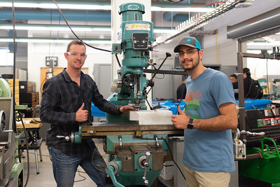 Andrew Rance (left) and Austin Clark working on their Team Propulsion Capstone Project.
