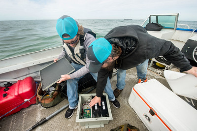 TAMU-CC Conrad Blucher Institute research engineers Alistair Lord (left), and Hugo Mahlke prepare a module that will be attached to the clamperatus, during their installation of the CCPORTS system off of the Port Aransas, Tx coast.