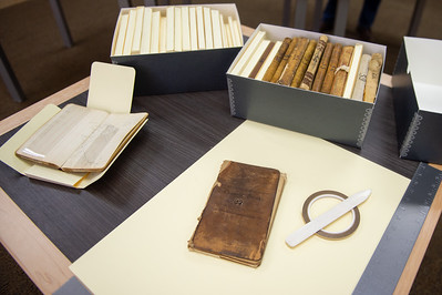 Items from the Blucher family on display at the Mary and Jeff Bell Library Collections and Archive department.
