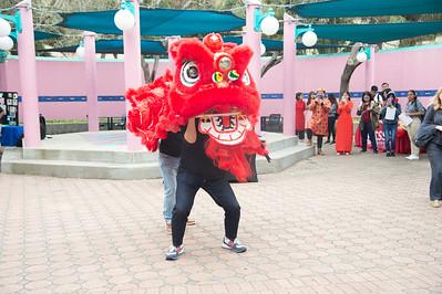 Peidong Sun (head) and Shengfeng Gan perform a dragon dance.