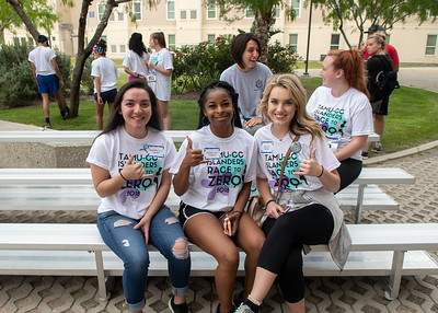 Volunteers Samantha Espinoza (Left) Tanisha Bennett (Middle) and Taylor Jehl (Right) take a quick break to pose for a photo.