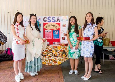 Student Shengjie Mi (left), Xiaotian Tang, Yaqian Zheng, and Mei Yang wear the traditional Chinese dresses to celebrate Mid Autumn Festival
