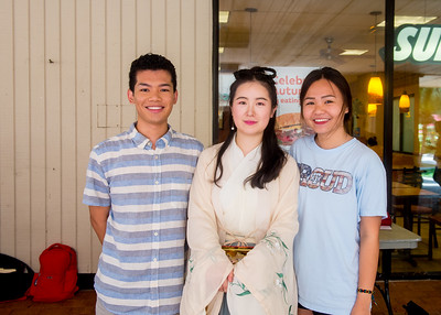 Student Triet Nguyen (left), Xiaotian Tang, and Huong Nguyen at the table of Chinese Student & Scholars Association (CSSA)
