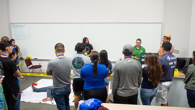Dr. Wendi Pollock introduces incoming Islanders to a crime scene demo as part of the Criminal Justice presentation of Islander Launch.  There is still time to register for Islander Launch! Registration closes 2 weeks before each event date, so reserve your seat today: http://bit.ly/2tn45Uv