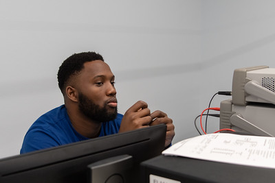 Jervis Richards pays close attention to his professor during his Circuits Analysis Lab.