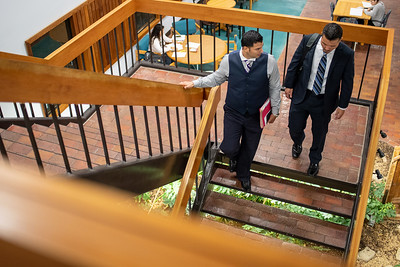 Dr. Israel Aguilar (left), and Jesse Dolin make their way through the Faculty Center at TAMU-CC.