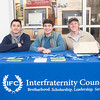Trey Lopez (left), Jordan Bertrand, and Phillip McDaniel pass out information for the  IFC (Interfraternity Council). During the Meet the Greeks event in the UC Rotunda.