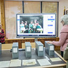 Alston Cobourn (left), shows Cecilia & Jim Akers the online portral to the Dr. Hector P. Garcia archive collection in the Mary and Jeff Bell Library's Collections and Archive department.