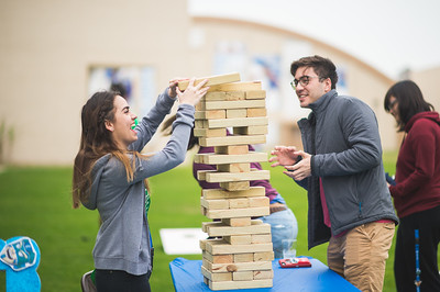 TAMU-CC students Sofia Rodriguez (left), and Terrin Vogel during an intense game of jenga on the East Lawn. During the 2018 Homecoming Tip Off Picnic.