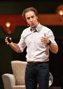 Distinguished Speaker Series featured guests Craig Kielburger, co-founder of the WE Movement, and Spencer West, motivational speaker, social activist and world change warrior, explain their mission of changing the world to an audience of students on October 16, 2018.