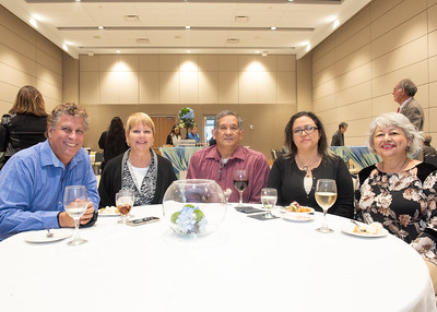 Kenneth Roberts (left), Jamie Roberts, Antonio Lozano, Veronica Vela, and Rose Vela during the Fall 2018 Distinguished Speaker Series VIP Reception.