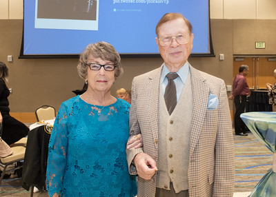 Ola Rushing (left) and Roger Baiteman during the Fall 2018 Distinguished Speaker Series VIP Reception.