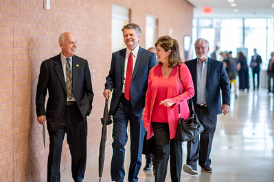 President Emeritus Dr. Robert Furgason (left) walks with guests to the TAMU-CC Furgason Engineering Building naming ceremony luncheon on December 7, 2018 at Texas A&M University-Corpus Christi.