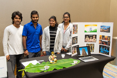 Yeswanth Peddineni (left), Sreekar Reddy Suram, Mounica Gullapalli, and Navya Reddy Velvesthi at the India Food Tasting and Cultural Exhibition at the Anchor Ballroom.
