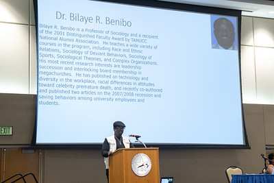 Dr. Bilaye Benibo speaking about international education at the International Symposium in the Anchor Ballroom.