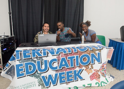 Students Hugo Martinez (left), Tyren Duncan, and Autumn Redmon play music in the University Center from different countries to celebrate International Education Week.