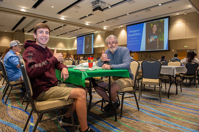 Walker White and W. Hade White enjoy their breakfast in the Anchor Ballroom.