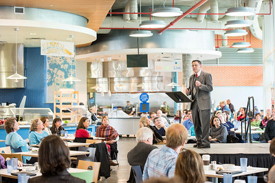 Dr. Steve Brown during his presentation at the FACTalks event, at the University's Dining Hall.