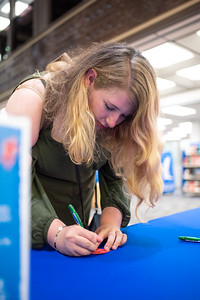 Alissa Ainsworm completed the Banned Books Week scavenger hunt and is preparing to enter the Mary and Jeff Bell Library's special prizzed raffle.