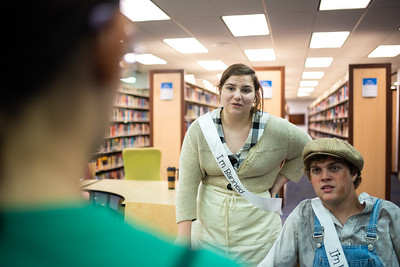 """Kallie Hudson (left) as Mu Joad and Dusty Merrell (right) as Tom Joad from banned book """"The Grapes of Wrath"""" at the Mary and Jeff Bell Library in honor of Banned Books Week."""
