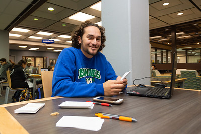 Quinton Saucedo studying for his upcoming Ichthyology exam.