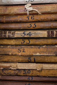 Collected journals ready to be archived in the Mary and Jeff Bell Library.