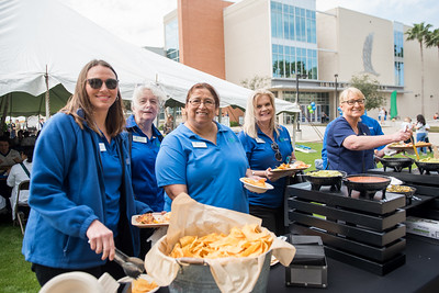 Faculty and staff of TAMU-CC stop by the food table during the 2018 Inauguration President's Picnic. Friday March 2, 2018 at Texas A&M University-Corpus Christi.