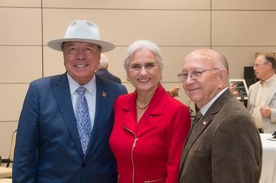 Senator Chuy Hinojosa (left), Cecilia and Jim Akers.