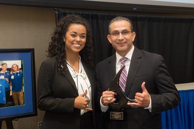 TAMU-CC student Andrea Gilson (left), and Representative Abel Herrero.