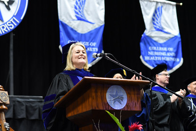 Dr. Kelly Quintanilla, President and CEO of Texas A&M University-Corpus Christi, welcomes Islander graduates during the Texas A&M University-Corpus Christi spring 2019 commencement ceremonies.