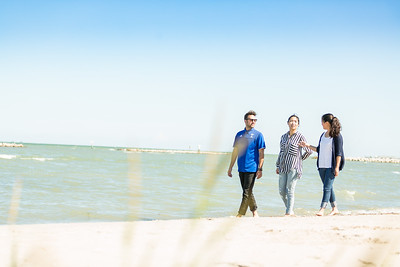 TAMU-CC international students on the beach opposite the campus.