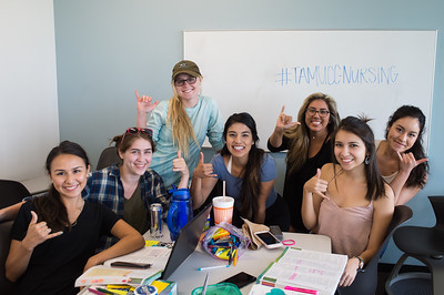 Students from the College of Nursing work together in the O'Connor Building's study break out room.