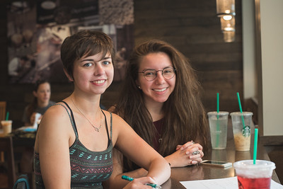 Sarah Khoury(left) and Alexyss Kaneubbe study for their calculus class in the Starbucks cafe.