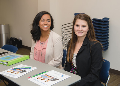 Andrea Gilson(left) and Kennah Leal during the Job Hunt 101 presentation by Career Services. More Photos http://bit.ly/1SYqX1a