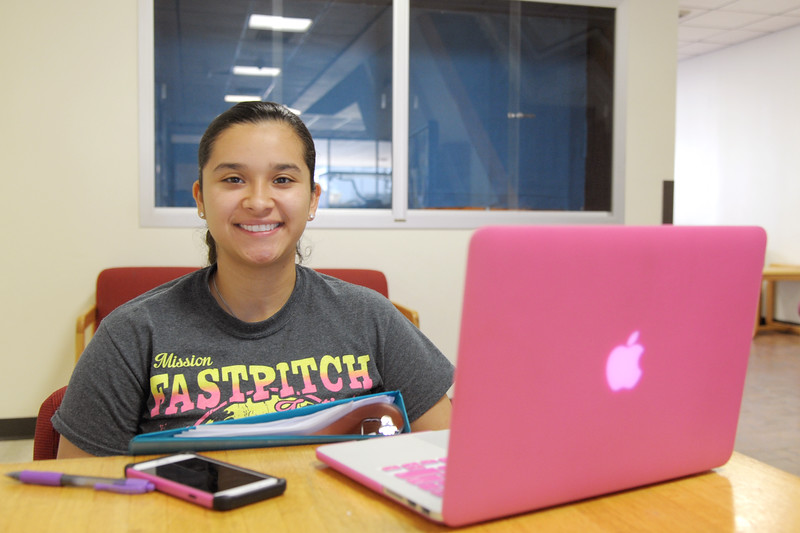 Ariana Ruiz working on her biology 2 assignment at the Center of Science.