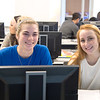 Abigail Ottmers(left) and Meredith Foster taking a second to smile during their English Composition lecture.