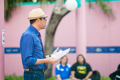 Professor Gabriel Ferreyra reviews a Drug Bust demonstration with criminal justice students in Hector P. Garcia Plaza.