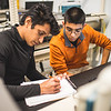 Ankit Dadoch (left) and Riksy Nunez partner up for their control systems lab. Thursday March 07, 2018 in the Engineering Lab building.