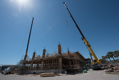 Cranes on each end of the construction site assist with moving rebar and materials during the construction of Tidal Hall.