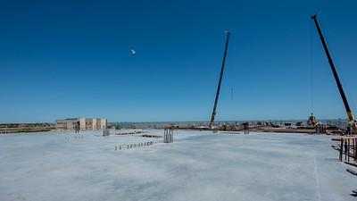 Construction crews prepare the next segment of Tidal Hall's third floor.