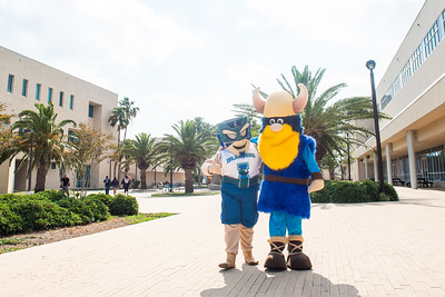 Texas A&M University-Corpus Christi's Izzy the Islander (left), and Del Mar College's Valdar the Viking.