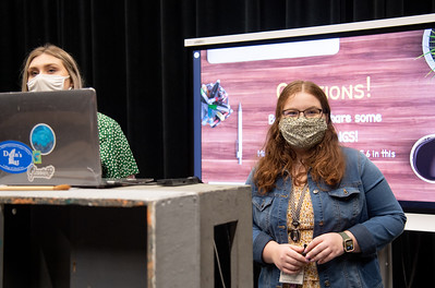 Kate Wilson (left) and Kat Williams start their class by providing an opportunity for ovations from students.