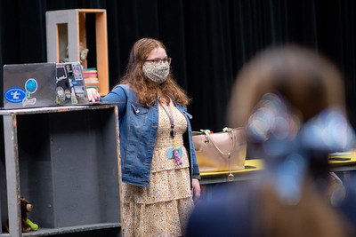 Kat Williams asks students to take a guess at the audio played during her class on foley sound design.