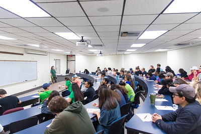 Dr. Kim Withers briefs students before taking their Parasitology Final exam.