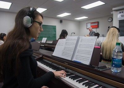 Student Gabrielle Choma practices piano.